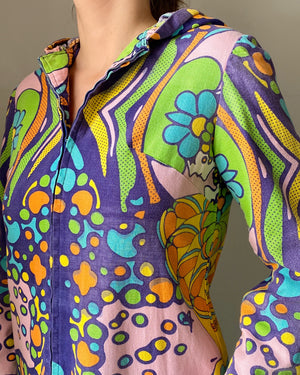 70s Peter Max Hooded Caftan Dress