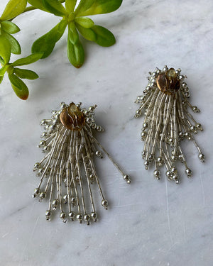 60s Clear Beaded Fireworks Earrings