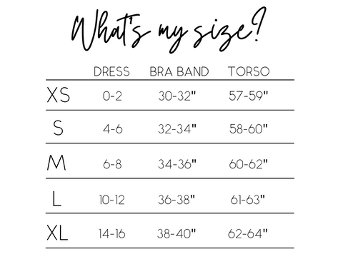 Sizing guide.  What size am I?
