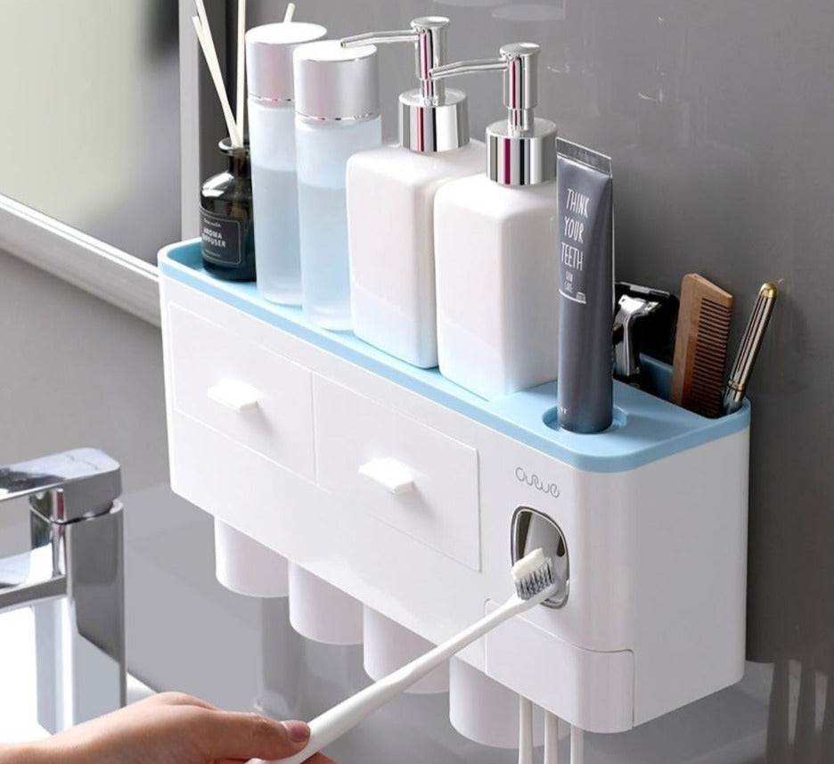 Bathroom Toiletries Storage Rack With Cup holder - Gadget Homez