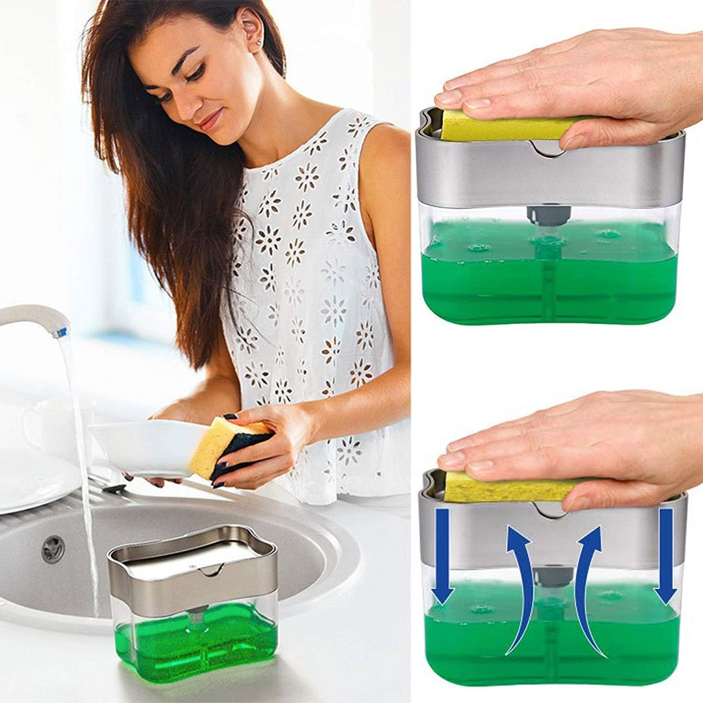 2 in 1 Sponge Rack Soap Dispenser - Gadget Homez