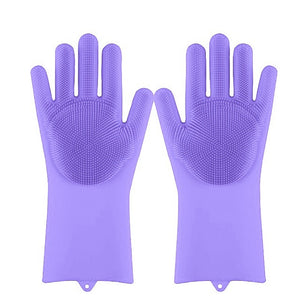 Magic Silicone Dishwashing Rubber Scrub Gloves - Gadget Homez