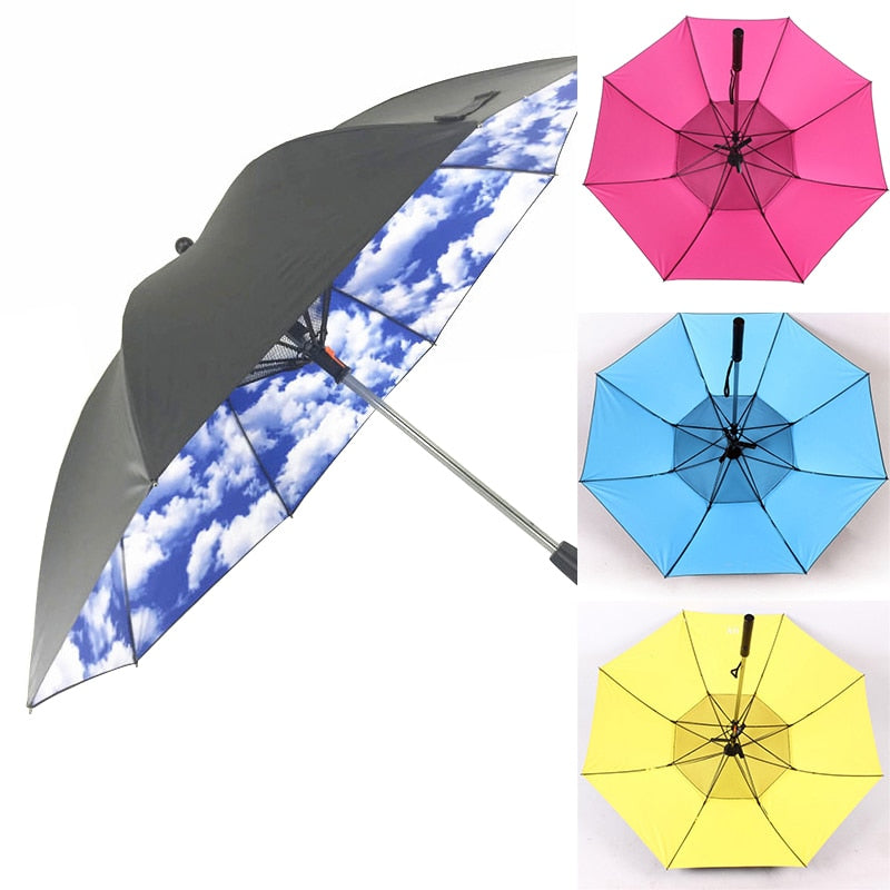Dual Purpose Spray Fan Umbrella Summer Cooling Sunny Rainy Day - Gadget Homez