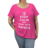 Keep Calm And Wash Your Hands tee (women's curvy, white text) - Work From Homers