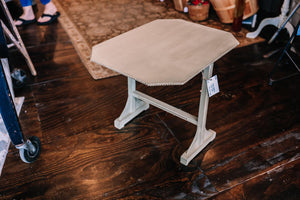 Hand-Painted, Detailed Side Table (Gray)