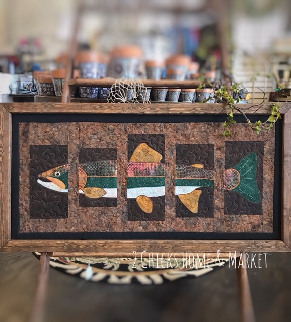 Gone Trout Fishing, Framed Textile-Quilt Art