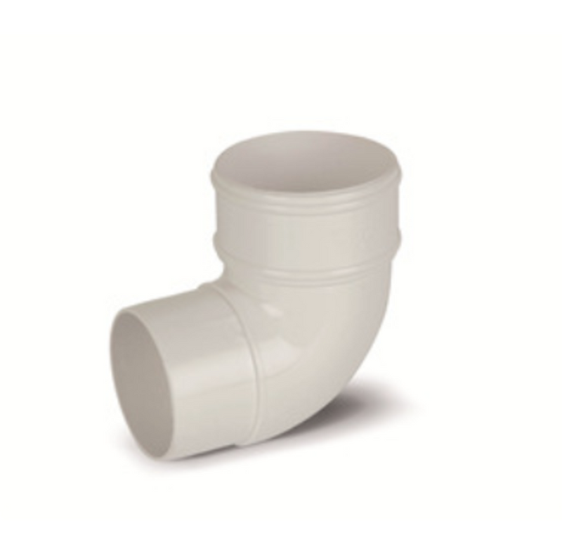 Plastic Guttering 68mm Round Down Pipe Bend 90° - White
