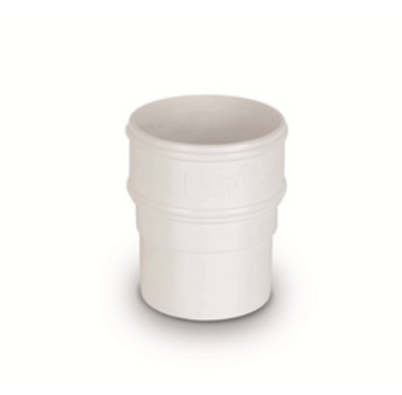 Plastic Guttering 68mm Round Pipe Socket - White