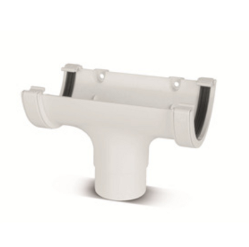 Plastic Guttering Half-Round Running Outlet - White