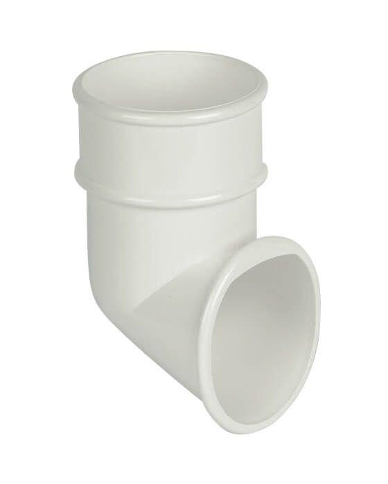 Plastic Guttering 68mm Round Down Pipe Shoe - White