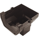 Plastic Guttering 114mm Square-Line Stop End Outlet - Black - Mammoth Roofing