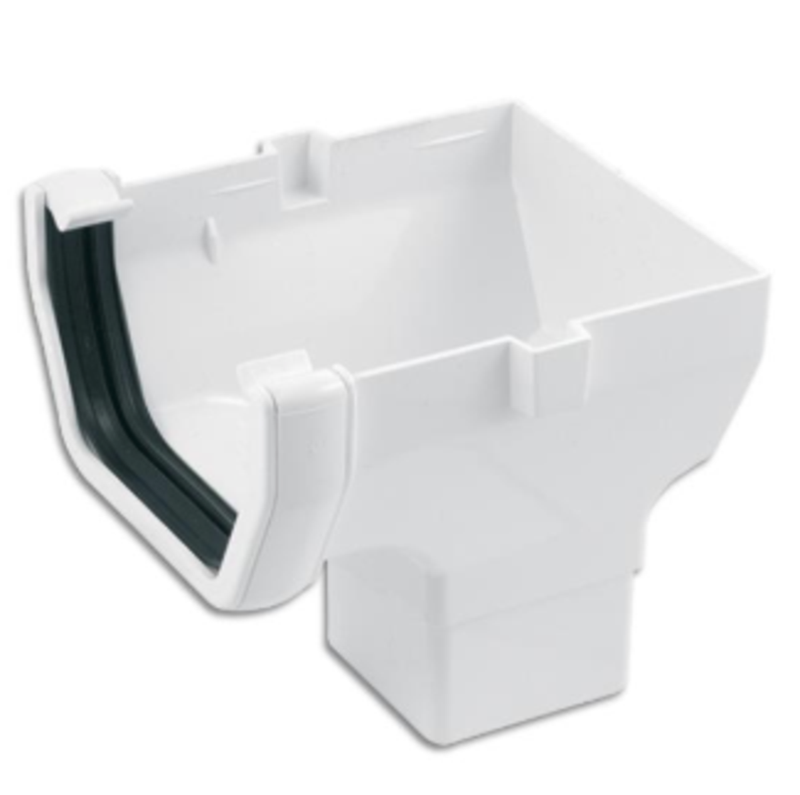 Plastic Guttering 114mm Square-Line Stop End Outlet - White - Mammoth Roofing