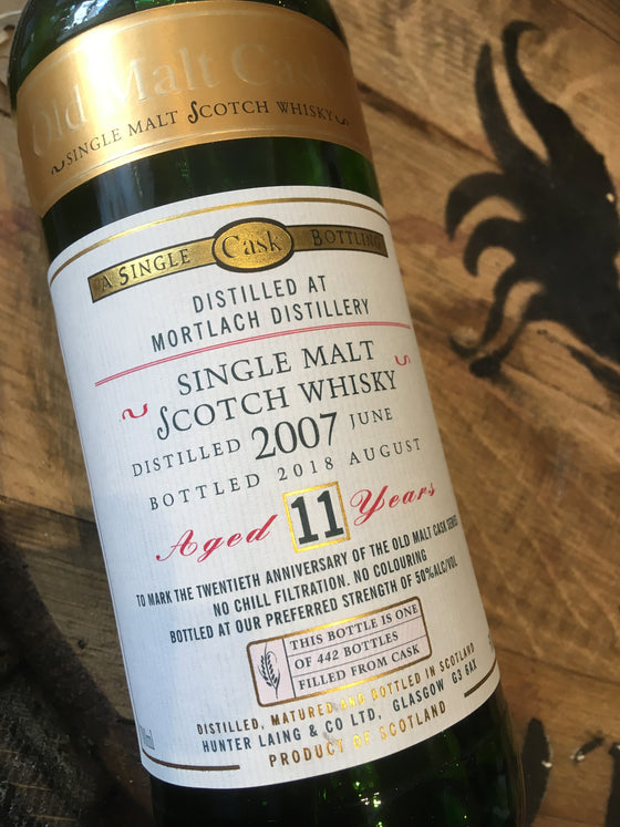 Hunter Laing Old Malt Cask 20th Anniversary Bottling Mortlach 11 Year Old 70cl