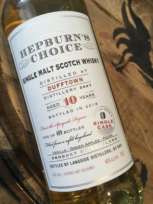 Hunter Laing Hepburn's Choice Dufftown 2007 70cl