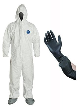 Dupont Disposable White Tyvek Coverall Suit with Protective Gloves-XL