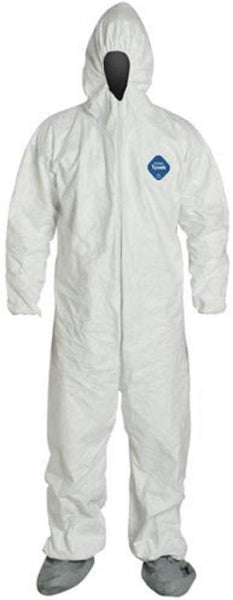 DuPont Industrial & Scientific 1414 Large TY122S Large EACH Disposable Elastic Wrist, Bootie and Hood Tyvek Coverall Suit 1414 White