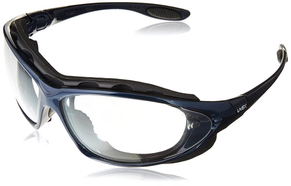 Honeywell S0620X Uvex Seismic Sealed Eyewear, Clear Lens, Metallic Blue Frame
