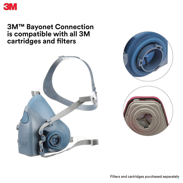 3M Personal Protective Equipment Large Half Facepiece Reusable Respirator 7503/37083(AAD), Respiratory Protection, Large