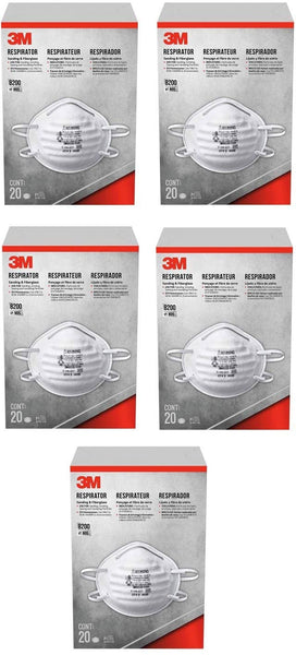 3M 8203HB3-A Sanding and Fiberglass Respirator, Pack of 5 (100)