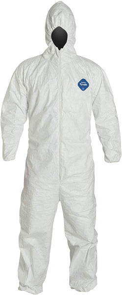 DuPont Tyvek 400 TY127S Protective Coverall with Hood, Disposable, Elastic Wrist, 2X-Large, White (Retail Package of 1)