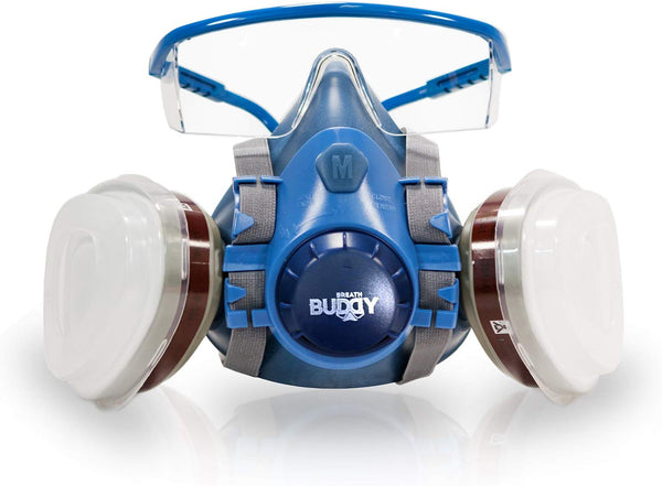 Breath Buddy Respirator Mask (Plus Safety Glasses) Reusable Professional Breathing Protection Against Dust, Pollen, Pesticides, and Organic Vapors - Perfect For Painters and DIY Projects