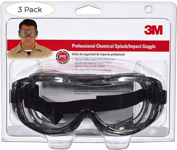 3M 91264-80025 Chemical Splash/Impact Goggle, 1-Pack (Pack 3)