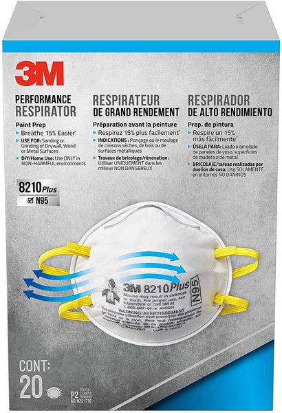 3M 8210 Plus Paint Sanding Dust Particulate Respirators, N95, 40-Pack (2 Boxes of 20)