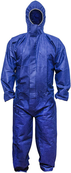 Blue SMS Coverall with Hood, Elastic Cuffs, Ankles, Waist. XX-Large Chemical Protective Coveralls. Unisex Disposable Workwear for Cleaning, Painting, Manufacturing. Lightweight, Breathable.
