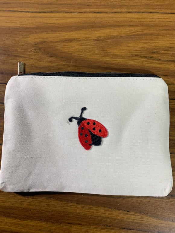 White Zipper Bag with Ladybug