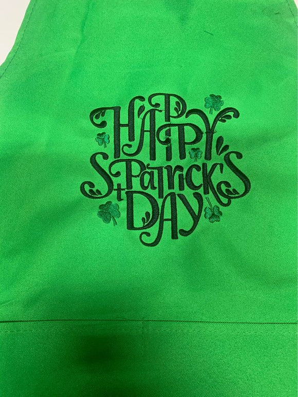 Green Embroidered Happy St Patrick's Day 2 pocket Apron