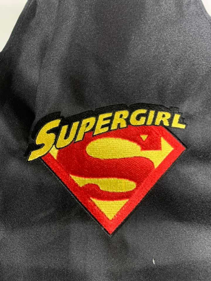 Supergirl 2 Pocket Black Apron