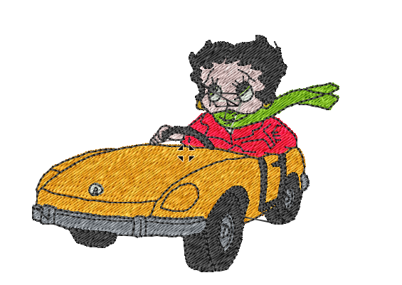 Betty Boop Driving Yellow Car Patch