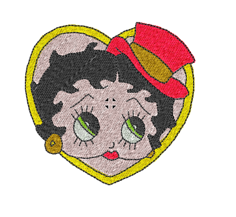 Betty Boop with red Hat Patch in Yellow Heart Shape