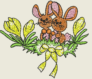 Bunnies and Flowers Embroidered Iron On Patch - EH Patches