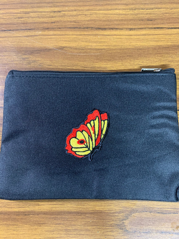 Black Zipper Bag with Butterflies