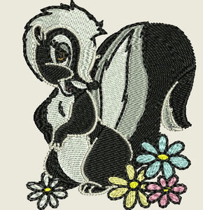 Skunk and Flowers Embroidered Iron On Patch - EH Patches