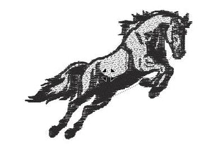 Horse Leaping Black and White Embroidered Patch