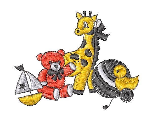 Giraffe Bear and Toys Iron on Patch