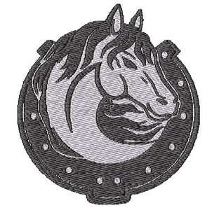 Horse with Horse Shoe Black and White Embroidered Patch