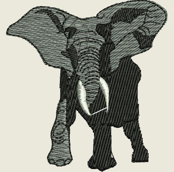 Tusked Elephant Embroidered Patch - EH Patches