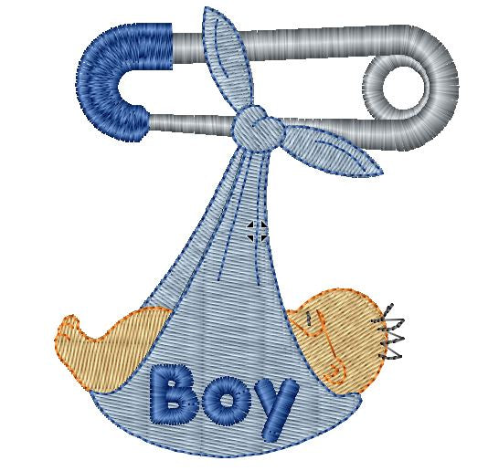 Boy Safety Pin Iron on Patch