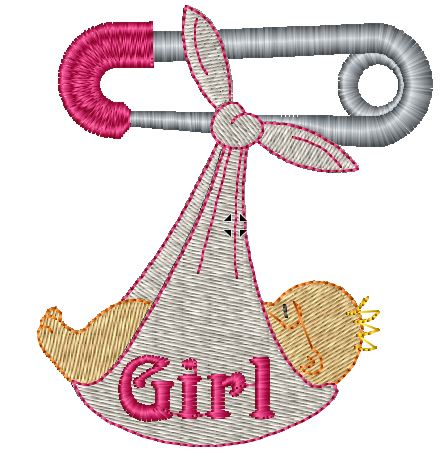 Girl Safety Pin Iron on Patch