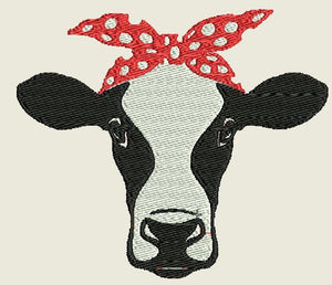 Cow with Red Bow Embroidered Patch - EH Patches
