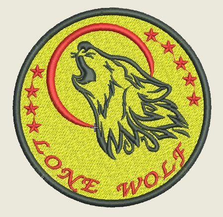 Lone Wolf embroidered Iron On Patch - EH Patches