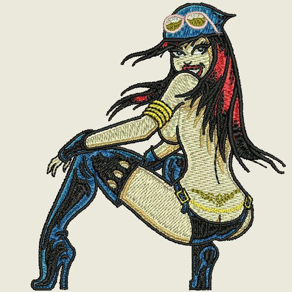 Biker Babe Embroidered Patch - EH Patches