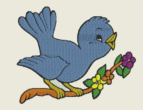 Bluebird on Limb Embroidered Patch - EH Patches