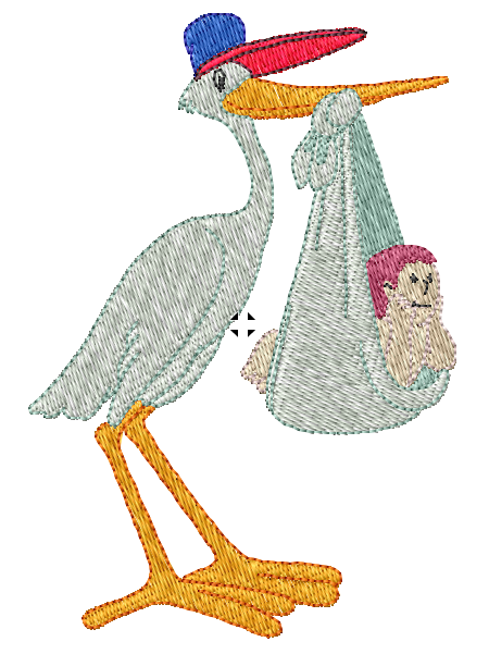 Stork Carrying Baby Iron on Patch