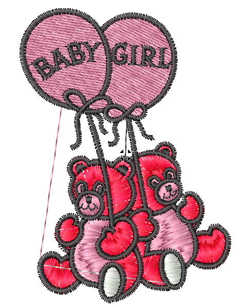 Baby Girl Bears Iron on Patch