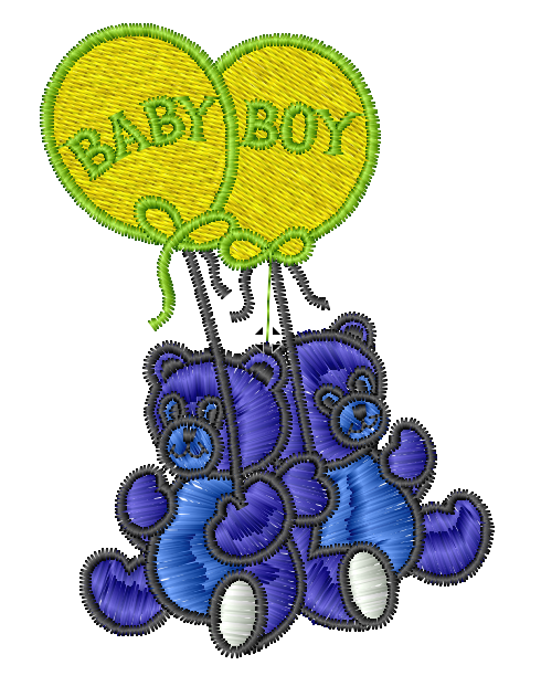 Baby Boy Bears Iron on Patch