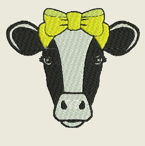 Cow with Yellow Bow Embroidered Patch - EH Patches